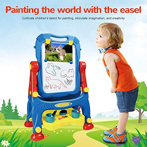 AMOSTING Drawing Board Toys For Boys & Girls Kids Art Easel For Toddlers With Magnetic Whiteboard & Chalkboard, Blue
