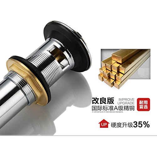 best AZOS Bathroom Sink Drainer Brass reverse Chrome Polished Overflow Hole Basin Parts PJXSQ002C-1Y