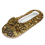 Alotta Knits Women's Sequins Ballerina Slippers with Sherpa Fleece Lining