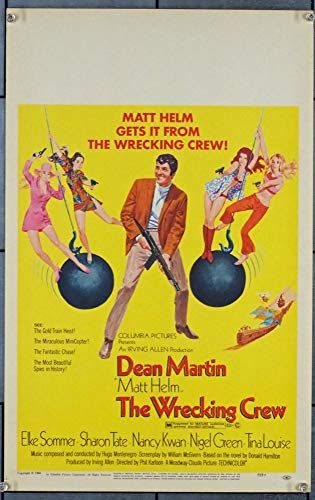 The Wrecking Crew (1969) Original Window Card Movie Poster 14x22 DEAN MARTIN NANCY KWAN ELKE SOMMER SHARON TATE Film Directed by PHIL KARLSON