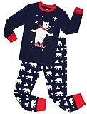 Kids Pajamas Hop Big Boys Christmas Pajamas Cotton Snow Bear Pjs Set Childrens Sleepwears (Blue,8T)