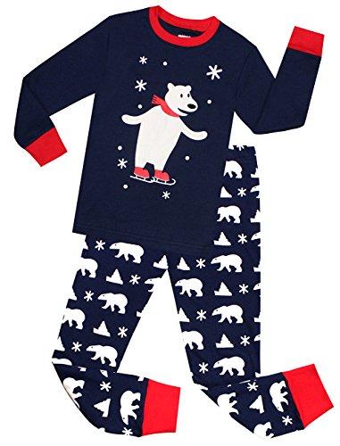 Kids Pajamas Hop Little Boys Christmas Pajamas Cotton Snow Bear Pjs Set Toddler Sleepwear (Blue,3T) ()