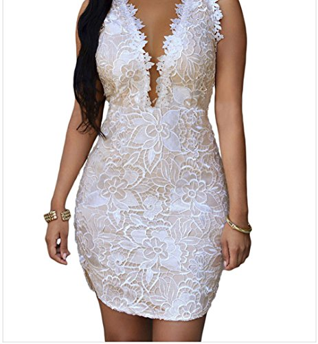 YFFaye Women's Lace Nude Mesh Accent Dress White (Party City Canada Careers)
