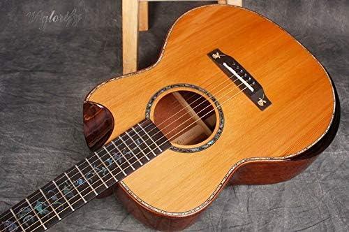 Guitarra eléctrica acústica de madera maciza de 99 cm, alto brillo, hecha a mano, incluye estuche rígido: Amazon.es: Instrumentos musicales