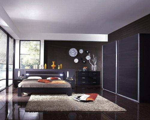 Schlafzimmer 5-tlg »BARCA« lavafarbig mit LED-Beleuchtung