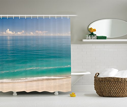 Ambesonne Ocean Decor Collection, Quiet Tranquil Beach with Green Sea under Clear Sky Picture, Polyester Fabric Bathroom Shower