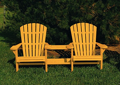 Pressure Treated Pine Fan Back Adirondack Settee with Table Amish Made USA- Golden Oak Stain Fan Back Settee