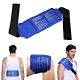 "Back Ice Gel Pack, LEADSTAR Reusable Gel Ice Pack with Strap Hot Cold Therapy for Back, Knee, Waist, Arm, Elbow, Shoulder, Ankle, Hip - Portable, Soft & Flexible (15"" x 6"")"