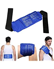 """Back Ice Gel Pack, LEADSTAR Reusable Gel Ice Pack with Strap Hot Cold Therapy for Back, Knee, Waist, Arm, Elbow, Shoulder, Ankle, Hip - Portable, Soft & Flexible (15"""" x 6"""")"""