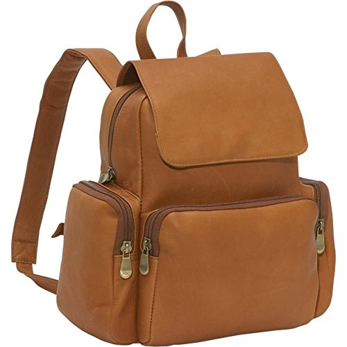 Le Donne Womens Leather Multi Pocket Backpack Purse in Tan