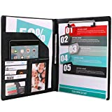 PU Leather File Folders With Pockets Clipboard Folder For Letter Size Writing Pad with card slot for Business Design (Black)