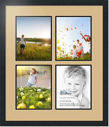ArtToFrames Collage Photo Frame Double Mat with 4-8x10 Openings with Satin Black Frame and Lavender Mist mat.