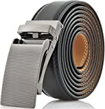 Marino Avenue Men's Genuine Leather Ratchet Dress Belt with Linxx Buckle, Enclosed in an Elegant Gift Box - Gunblack Silver Buckle with Black Leather - Adjustable from 28'' to 44'' Waist