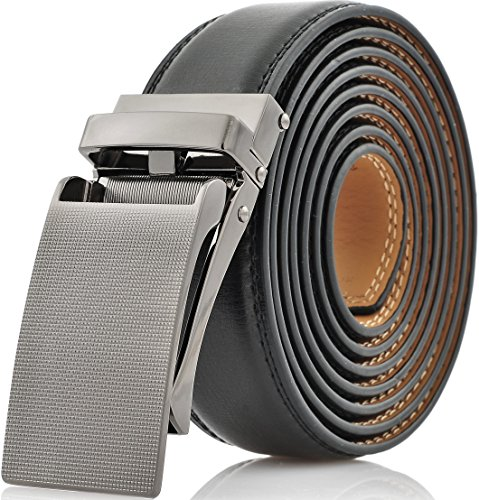 Marino Avenue Men's Genuine Leather Ratchet Dress Belt with Linxx Buckle, Enclosed in an Elegant Gift Box - Gunblack Silver Buckle with Black Leather - Adjustable from 28