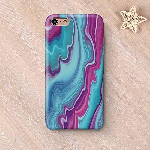 Marble No Odor Compatible with iPhone Case,Abstract Color Formation Wavy Aqua Pink Lines Agate Slab Mineral Layers Geographic Compatible with iPhone 7/8 Plus,iPhone 6 Plus / 6s Plus - Polished Slab Agate