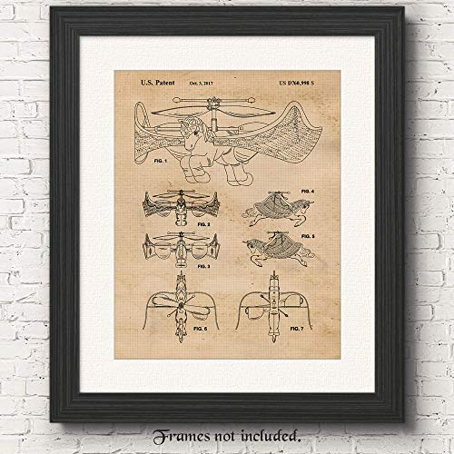 Original Unicorn Drone Patent Poster Print - Set of 1 (One 11x14) Unframed Picture - Great Wall Art Decor Gifts Under $15 for Home, Office, Garage, Man Cave, Student, Teacher