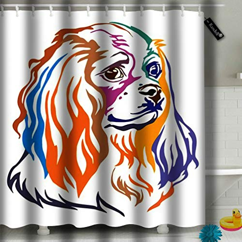 Randell Shower Curtain Set Colorful Decorative Portrait of Dog Cavalier King Charles Spaniel 72