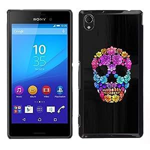 """For Sony Xperia M4 Aqua Case , Flores de Primavera Profundo Significado cráneo"""" - Diseño Patrón Teléfono Caso Cubierta Case Bumper Duro Protección Case Cover Funda"""