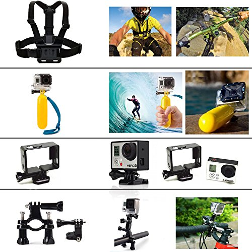 BlueHorn all in 1 Accessory Kit For Go Pro Hero 4 Hero 3+ Hero 3 Hero 2 Digital Camera,Chest Belt Strap Mount,Head Strap Mount ,Auto Suction Cup + 1Tripod Mount,Handlebar Seatpost +Pivot Arm,Floating Grip+Handle Monopod +Tripod Mount Adapter,Wrist Strap,Buckle Tethers Straps With Sticker Mounting Kit+360' Backpack Hat Clip Mount+Frame Mount Housing(HERO4 / HERO 3 / HERO3+ cameras only)
