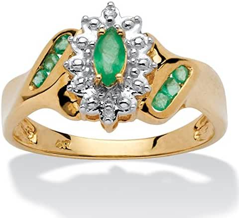 Marquise-Cut and Round Genuine Green Emerald and Diamond Accent 10k Gold Classic Ring