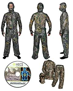 HECS Suit Hunting Clothing with Human Energy Concealment Technology - Camo 3 Piece Shirt, Pants, Headcover - Lightweight Breathable in Mossy Oak Country & Realtree Xtra | Mossy Oak, Small