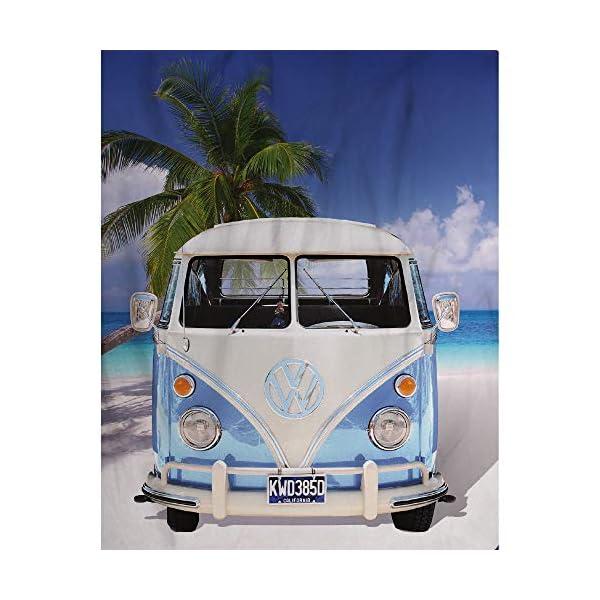 51KBs0KiuhL Große Original Volkswagen Fleece-Decke VW Bulli T1 blau 130 cm x 170 cm Camper-Van VW Bus T1 Decke Kuscheldecke…
