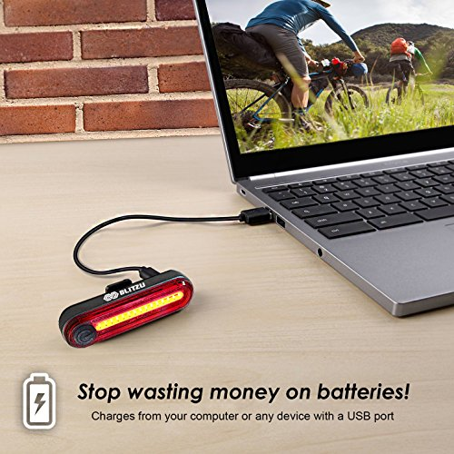 BLITZU Cyborg 120T USB Rechargeable LED Bike Tail Light. Bright Bicycle Rear Cycling Safety Flashlight, Fits Road, Mountain Bikes, Helmets. Get The Front Headlight and Back Set for Kids Men and Women by BLITZU (Image #3)
