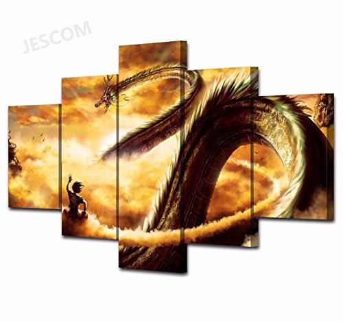 Wall Art 5 Pieces Goku Dragon Ball Paintings Super Saiyan For Living Room Home Decor HD Print (30x50cmx2,30x70cmx2,30x80cmx1) (B, With Wood Frame) (Goku Super Saiyan Poster)