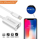 #8: Dual Lightning Adapter Splitter for iPhone 7, 7Plus, 8, 8Plus, iPhone X, Sellemer Headphone Jack Audio/Charge Adapter Compatible Music Control, Charge Power Bank Sync Date (White)