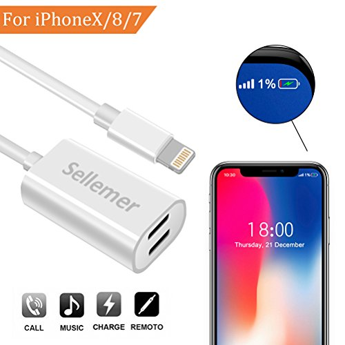 Dual Lightning Adapter Splitter for iPhone 7, 7Plus, 8, 8Plu