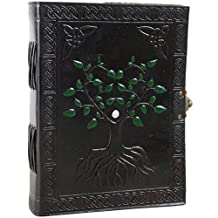"""Tree of Life Leather Journal Hand Painted Unlined Notebook Sketchbook (6"""" X 8"""")"""