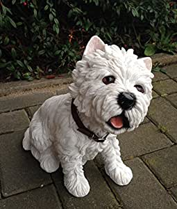 White Terrier sentado con cuello banda Figura decorativa perro