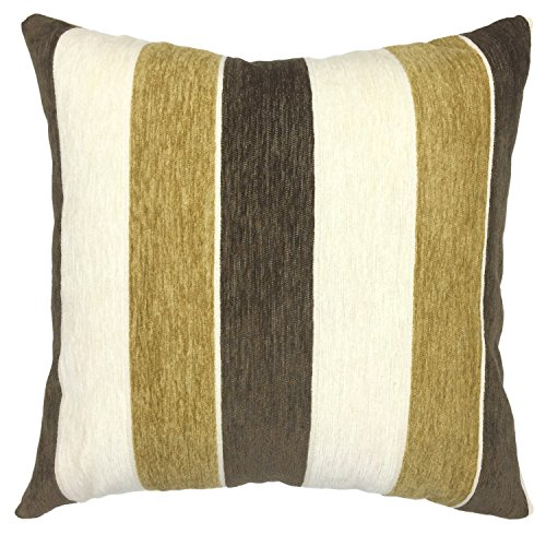 YOUR SMILE Stripe Cotton Square Decorative Throw Pillow Case Cushion Cover 18x18 Inch (Beige) (Beige/Yellow/Brown) (Stripe Yellow Brown)