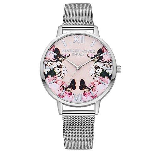 Demiawaking Fashion Black Butterfly Flower Men Women Mesh Belt Watch Classic Steel Quartz Lovers Couples Wrist Watches Gift (Silver)