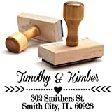 Wood Stamper, Custom Wooden Handle Return Address Stamp Personalized, Business Office Stamps, Brilliant Gift for Real Estate Clients, Newlyweds, Family, Wedding or Housewarming