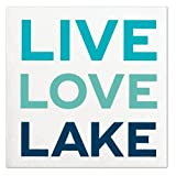 Slant Collections ''Live Love Lake'' Blue Beverage Paper Napkins