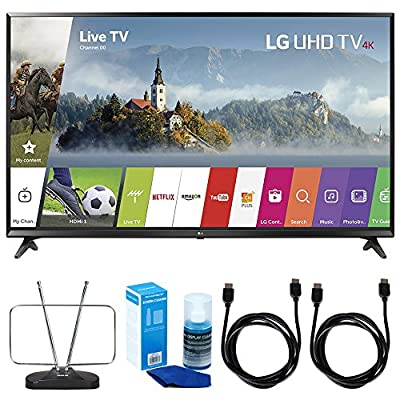 LG UJ6300 Super UHD 4K HDR Smart LED TV (2017 Model) with Cut The Cord Bundle Includes FM Antenna, 2x 6ft. High Speed HDMI Cable & Screen Cleaner for LED TVs