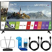 LG 43 UHD 4K HDR Smart LED TV - 43UJ6300 (2017 Model) w/ TV Cut The Cord Bundle Includes, Durable HDTV & FM Antenna, 2x 6ft. HDMI Cable & Screen Cleaner (Large Bottle) for LED TVs