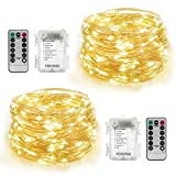 2 Set Fairy String Lights Battery Operated 33 ft with 100 LEDs, YIHONG Waterproof Decorative Lights for Bedroom, Patio, Parties (Copper Silver Wire Lights, Warm White)