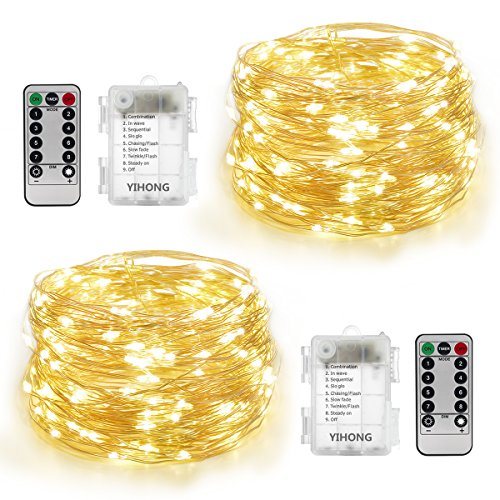 2 Light Set (YIHONG 2 Set String Lights Silver Wire Battery Operated Warm White Fairy Lights 100 LED 33 FT Fairy String Lights 8 Modes Twinkle Lights with Remote Timer for Bedroom Wedding Party Christmas Decor)