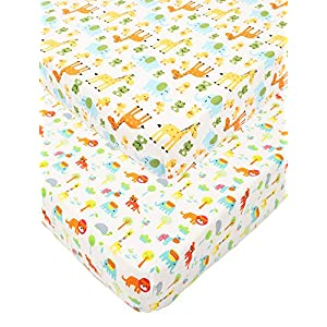 Waterproof Pack N Play/Mini Portable Crib Sheet with Mattress Pad Cover Set 2 Pack 100% Jersey Cotton 190GSM Thickest Ultra Soft Stretchy for Baby Girl Boy Cute Animal by Knlpruhk