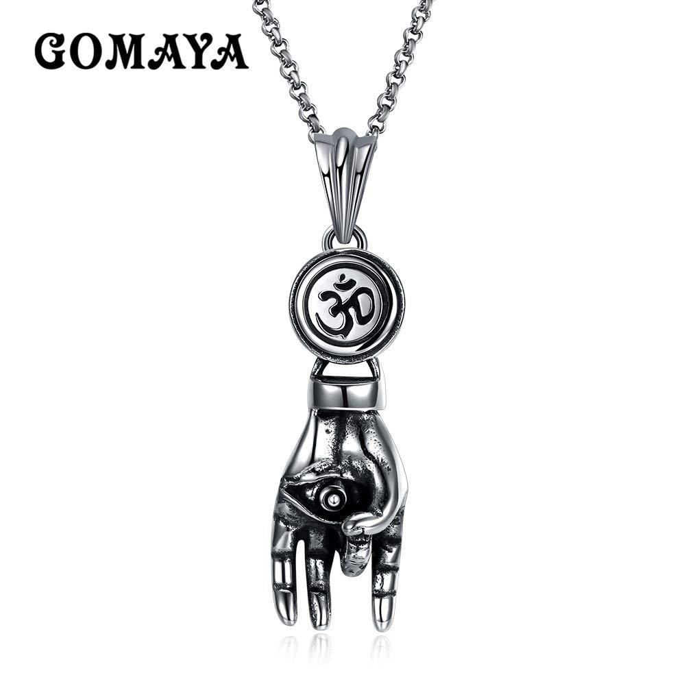Davitu Antique Silver Plated Hand Palm Pendant Necklace for Men Women Gift Jewelry Titanium Collier