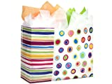VOGUE Rainbow Spots Shopping BagsBULK HD Plastic 16x6x12'' 1 unit, 250 pack per unit.