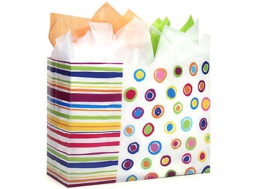 VOGUE Rainbow Spots Shopping BagsBULK HD Plastic 16x6x12'' 1 unit, 250 pack per unit. by Nas
