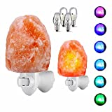 2 Pack Himalayan Crystal Salt Lamp by AYG:Hand Carved Glow Pink Sea Crystal Rock, Night Light Wall Light with Colorful Bulbs,Natural Air Purifier and for Living Dining Bed Room and Office (Multi)