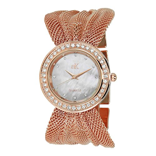 Adee Kaye Fame ak20-LRG 32.5mm Brass Case Rose Gold Brass Mineral Women's Watch