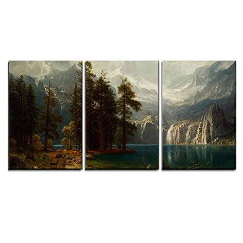 Canvas Frame Bierstadt - wall26 - 3 Piece Canvas Wall Art - Sierra Nevada in California by Albert Bierstadt Giclee - Modern Home Decor Stretched and Framed Ready to Hang - 16