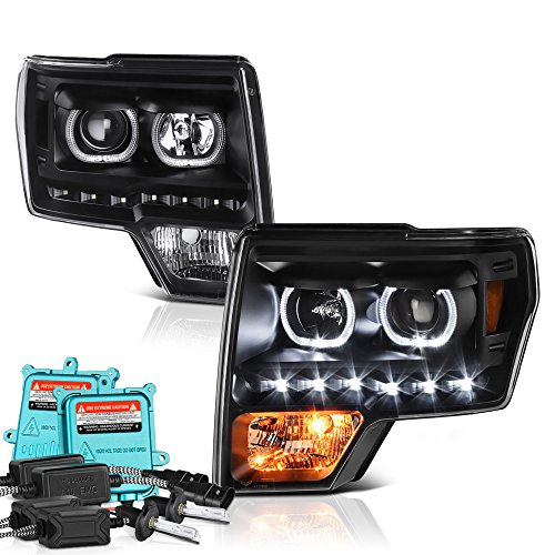Built In 55 Watts Xenon Hid Low Beam Vipmotoz Led Halo Ring Projector Headlight Assembly For 2009 2014 Ford F 150 Factory Halogen Model Matte Black Housing Driver And Passenger Side