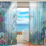 U LIFE Ocean Sea Mermaid Patchwork Rod Pocket Sheer Voile Window Curtain Curtains 55 inch Wide x 84 inch Long Per Panel, Set of 2 Panels For Sale