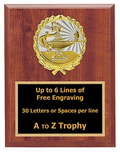 Lamp of Knowledge Plaque Awards 7x9 Wood Academic Trophy Education Trophies Free Engraving - Teacher Gown
